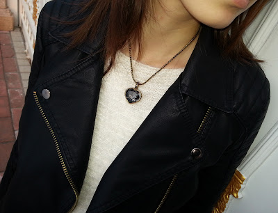 sliver bezel crystal heart pendant necklace