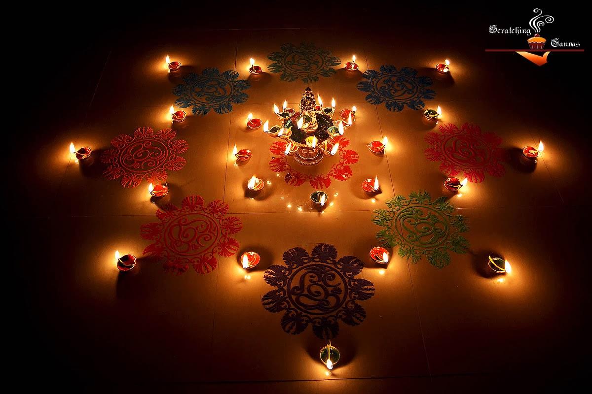 Image result for diwali rangoli with diya