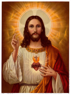Christian image with Sacred heart of Jesus and cross on it