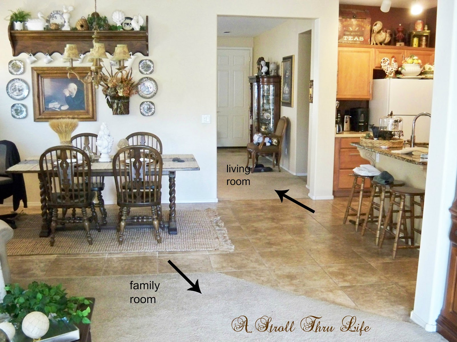 A stroll thru life the makeover begins i need your input for Flooring transition from kitchen to family room