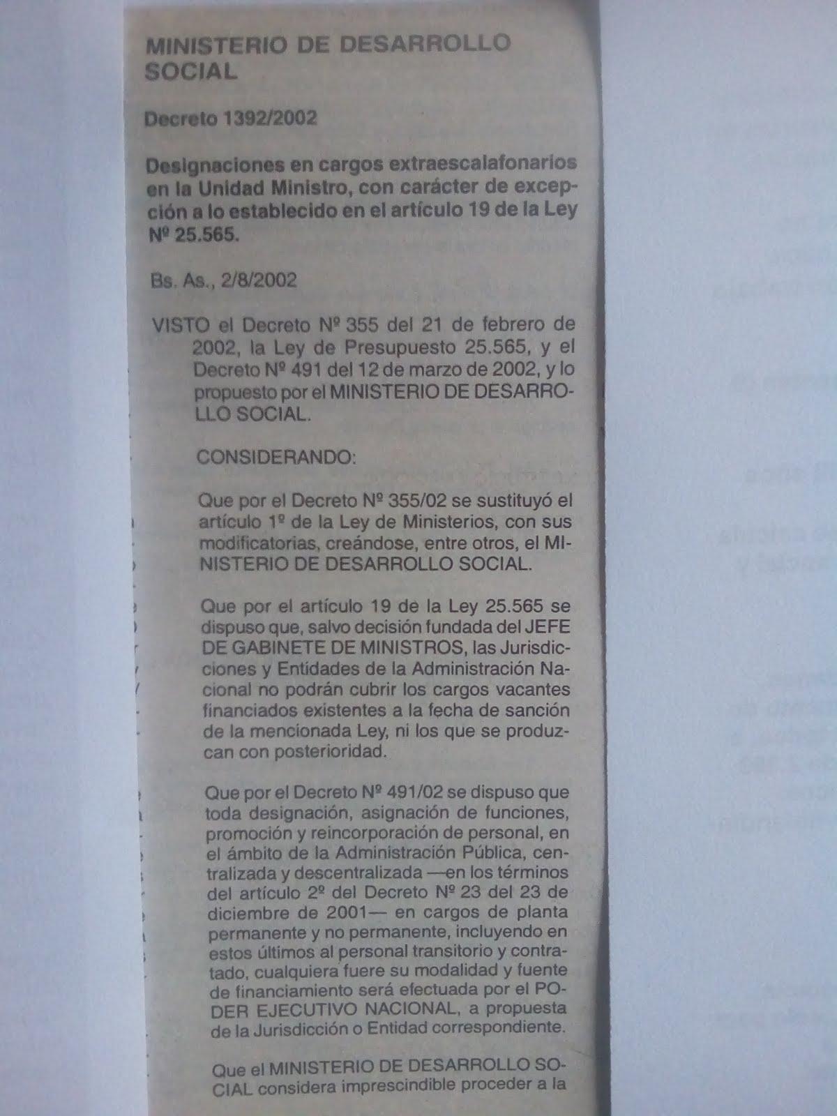 71-DECRETO ESPECIAL DEL PRESIDENTE DUHALDE NOMBRANDO A NAUM KLIKSBERG