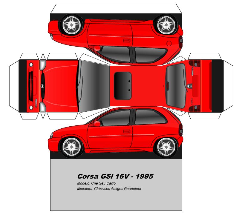 Sp Papel Modelismo Papercraft Chevrolet Corsa Gsi 1995