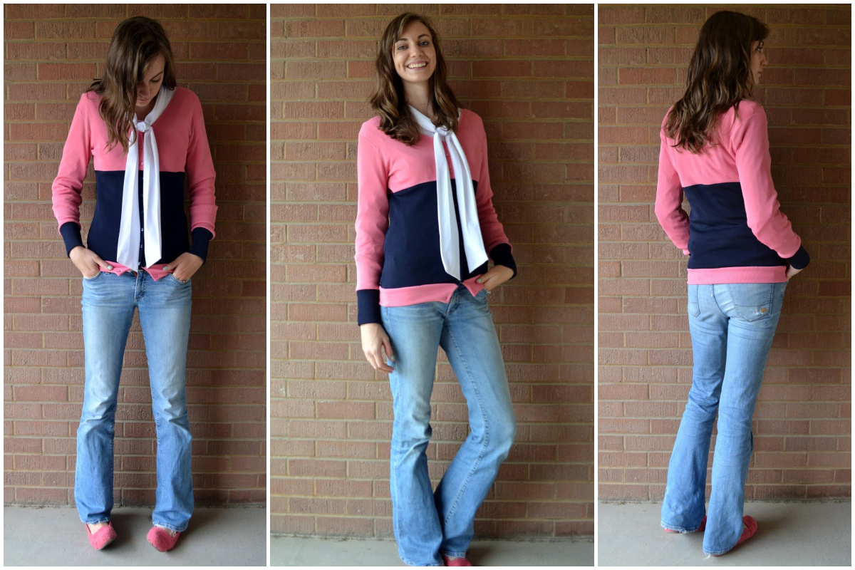 Tutorial: Color Blocked Cardigan For Stretch Yourself - Feathers Flights // Sewing Blog: Tutorial: Color Blocked Cardigan