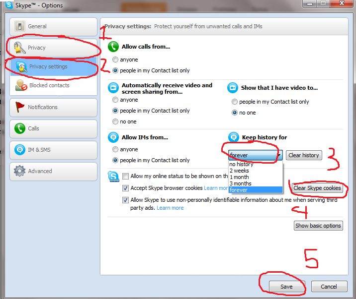 how to clear skype cookies