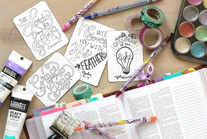 Free Journaling Cards--You can color these and add them to your Bible journaling pages! www.pitterandglink.com