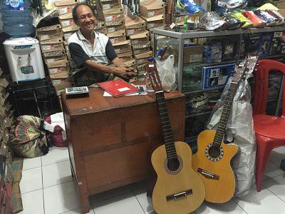 Bali. Gianyar. Guitar shop.