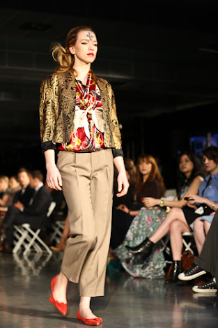 ecofashion week value village thrift chic show, posing in vintage, thrift chic fall looks, red scarf top and gold embroidered jacket