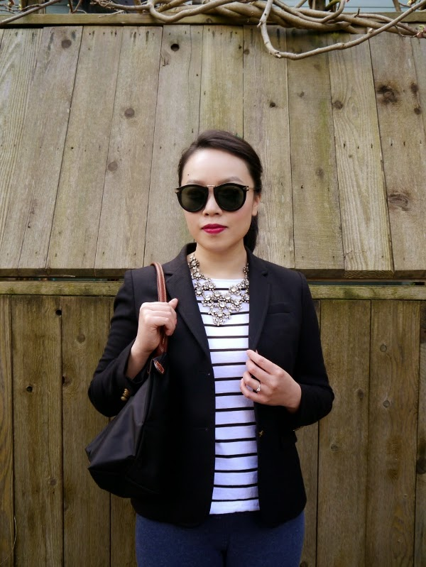 Classic: shades, statement necklace, blazer and Breton stripes