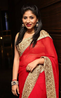 Actress Madhulagna Das Latest Pictures in Red Saree (12)