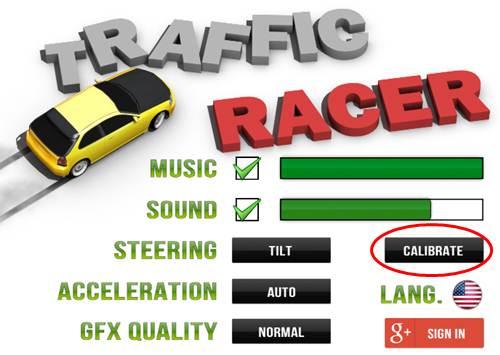 Opções do game: calibragem, modo de aceleração com touch ou automático, qualidade gráfica e acesso a conta do Google.