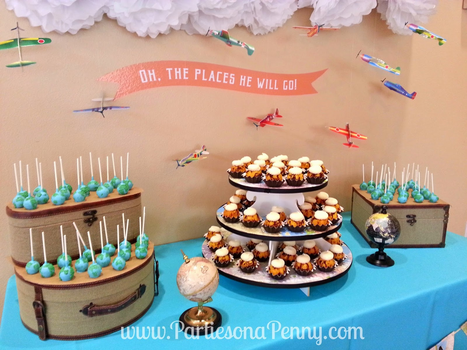 parties on a penny travel themed baby shower