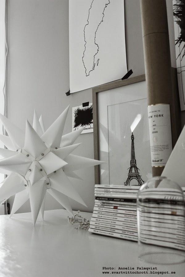 moravian stjärna från artilleriet, moravian star, stars, stjärnor av papper, pappersdekoration, konsttryck, svartvita tavlor, tips på tavla, presenttips, svart och vitt, stilleben, inredning, inredningsblogg, eiffeltornet, motiv, posters, sverige,