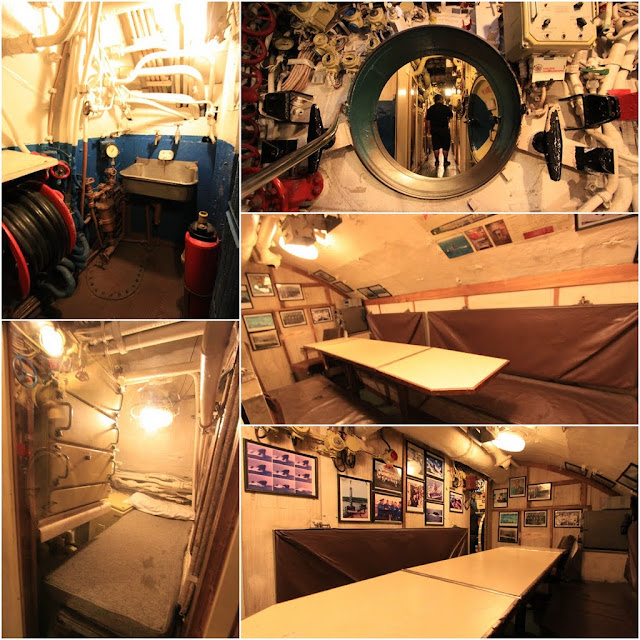 The meeting room, bathroom and bedroom are cramped with limited space to move around in the Russian Scorpion Submarine at Long Beach, Los Angeles, California, USA