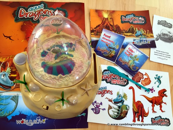 What's in the box -Aqua Dragons Jurassic Time Travel Eggspedition with LED lights