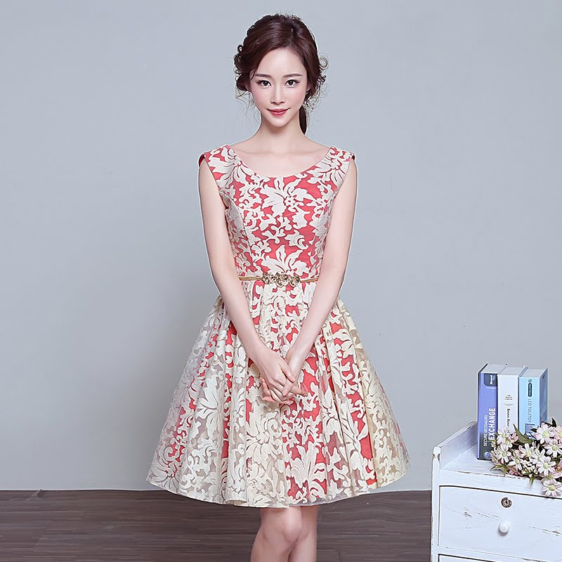 Gold Lace Embroidery Red Flare Cocktail Dress
