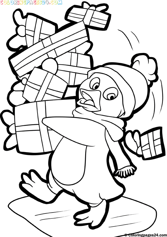Christmas penguin coloring pages - photo#6