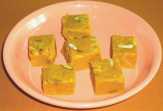mango barfi in a serving plate