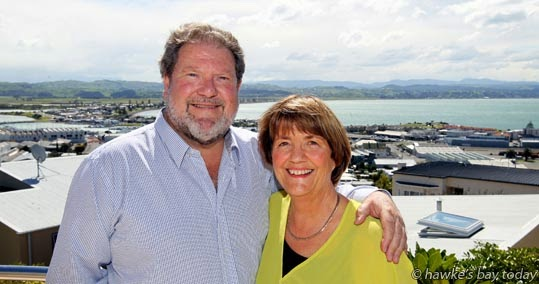 Bill Dalton, the new mayor of Napier City Council, Napier, and his wife, Shirley Dalton photograph