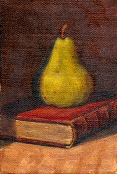 Oil painting of a green pear on top of a red leather bound book with gold edging.