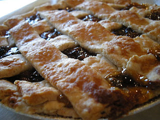 raisin pie with lattice top