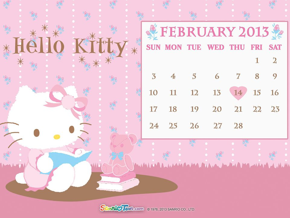 love Kawaii: February 2013 Printable Calendars