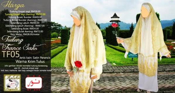 tudung france satin pengantin muslimah