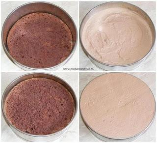 montare tort mousse, asamblare tort mousse, retete culinare, cum se face tortul mousse de ciocolata cu doua blaturi de cacao,