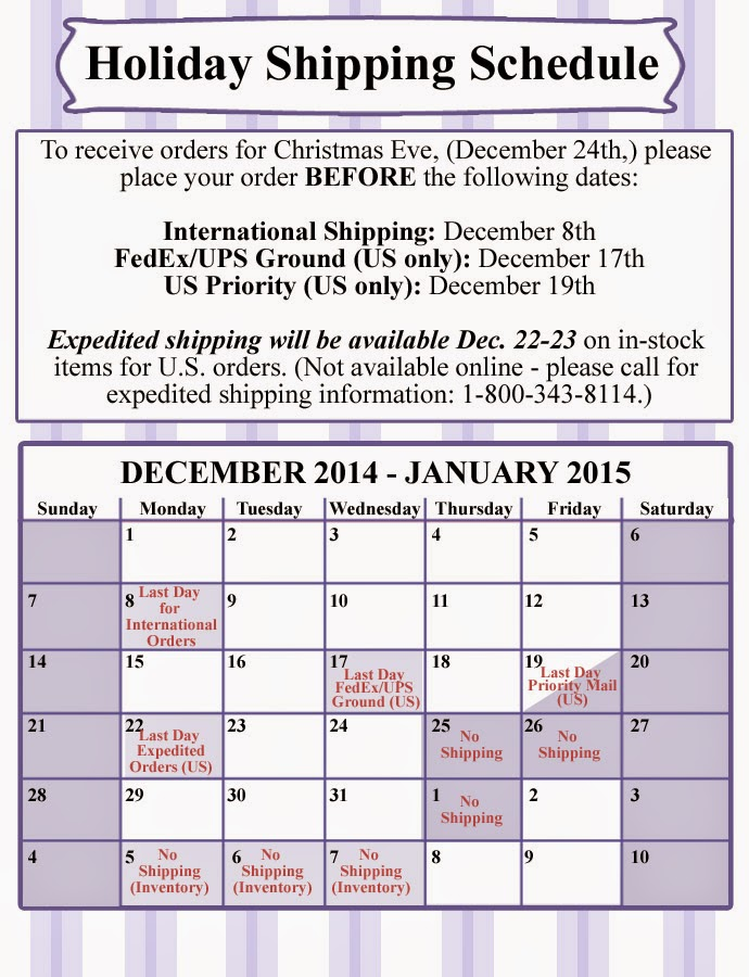 Holiday Shipping Schedule for Pepperell Braiding Company