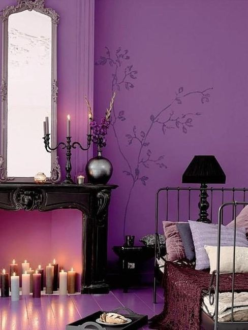 Home quotes theme inspiration gothic decoration for Black and purple bedroom ideas