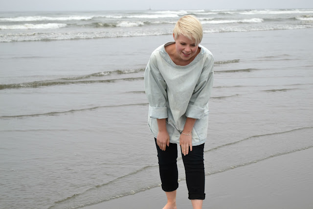 beach, ocean, denim, short haircut, blonde, lifestyle, washington, travel