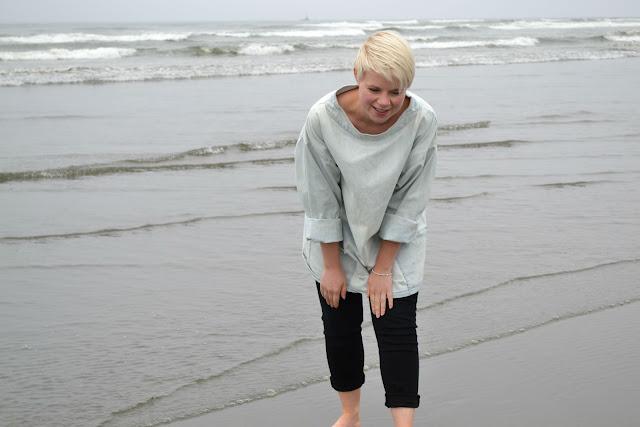 beach, ocean, denim, short haircut, blonde, lifestyle, washington, travel