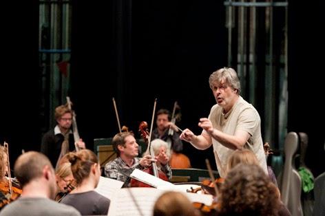 James MacMillan conducting the Britten Sinfonia in rehearsal