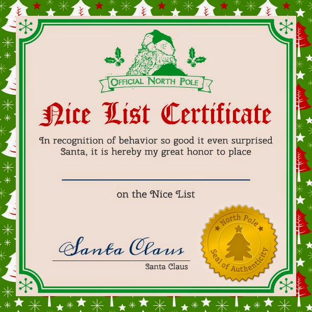 santa claus good list certificate