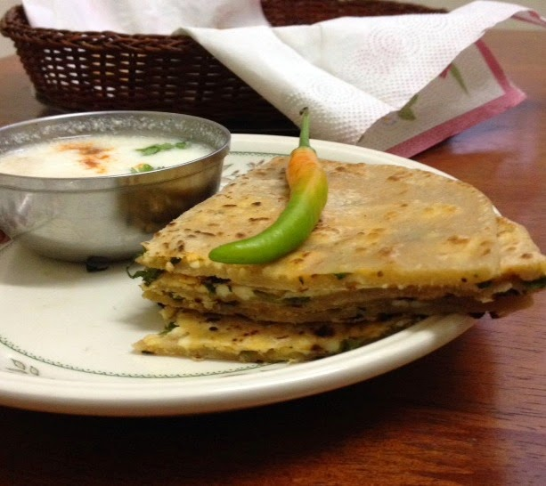 Paneer/Cottage cheese parathas