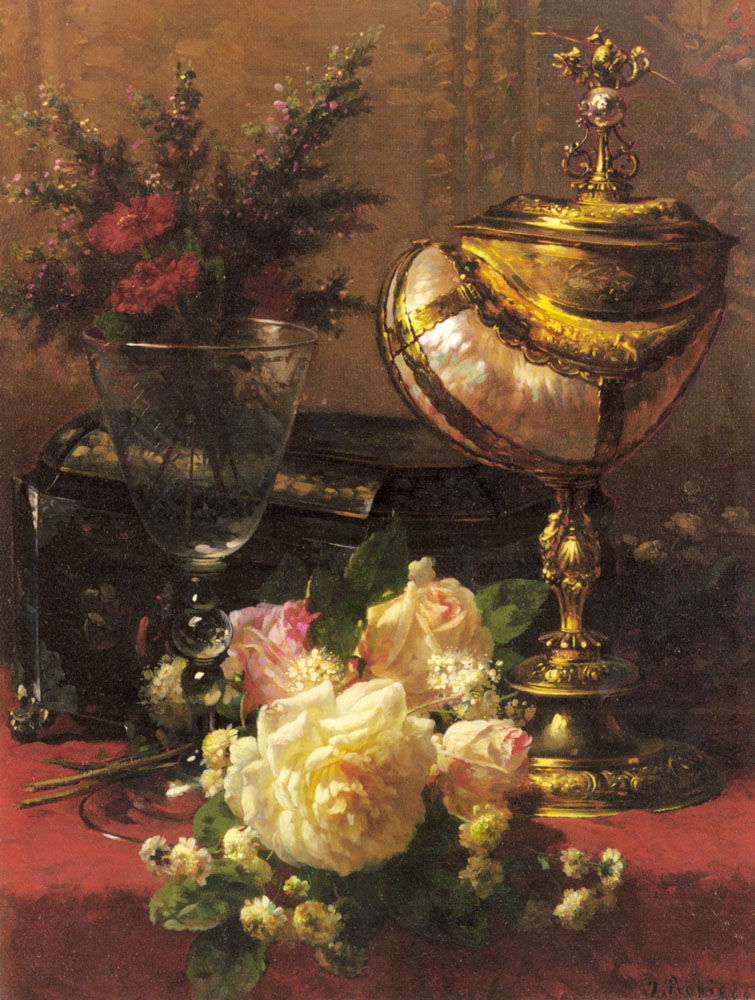 Jean Baptiste Robie  Jean+Baptiste+Robie+-+A+Bouquet+of+Roses+and+other+Flowers+in+a+Glass+Goblet+with+a+Chinese+Lacquer+Box+and+a+Nautilus+Cup+o