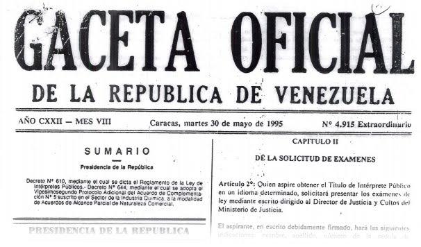 Gaceta Oficial de Venezuela Traductores