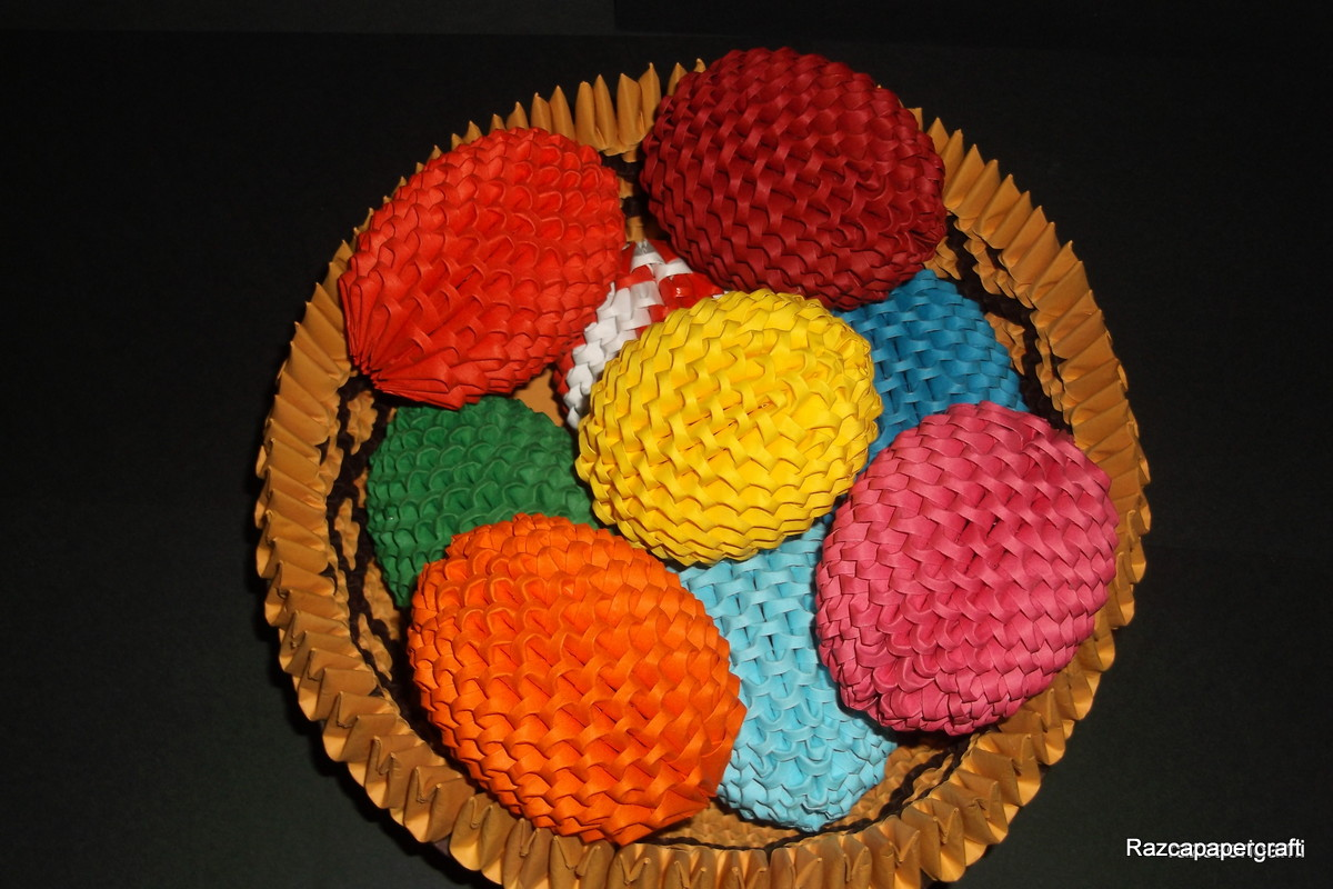razcapapercraft 3d origami basket with easter eggs