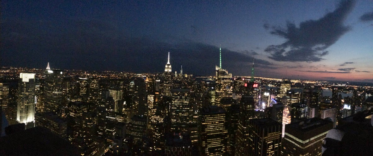 panorama top of the rock nyc sunset