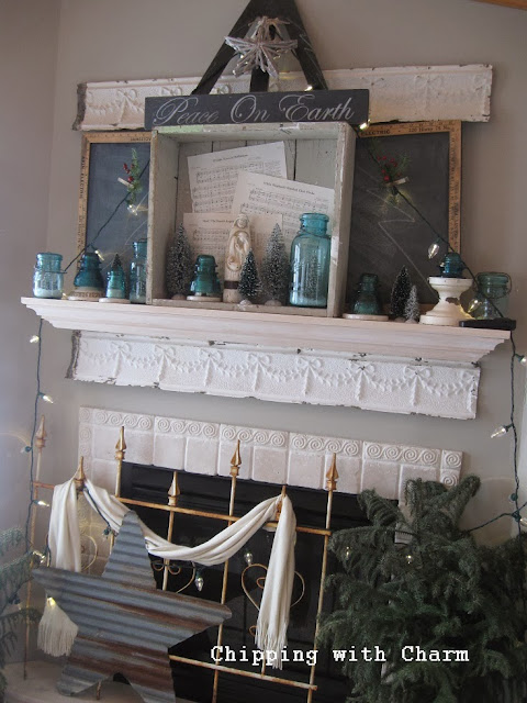 "Chipping with Charm: Rustic ""Tree"" Mantel...http://www.chippingwithcharm.blogspot.com/"