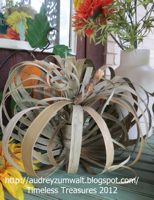 DIY Palm Leaf Pumpkin from Setting for Four #DIY #Fall #Palm Leaf #Pumpkin