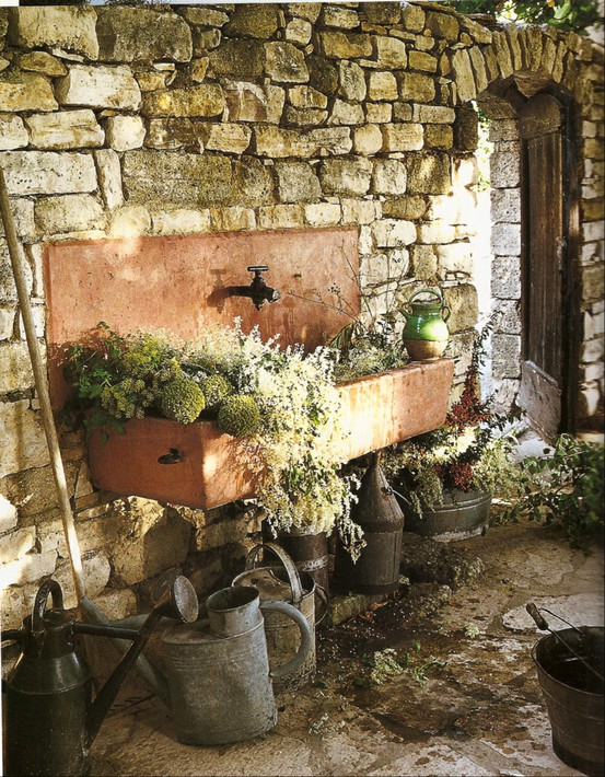 Outdoor Stone Sink : potting+bench+-+gardening+bench+station+-+garden+-+pots+-+flowers+ ...
