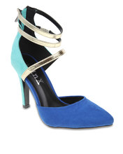 linx pointy ankle strap, ankle strap shoes, court heels, blue-turquoise heels, linx court heels