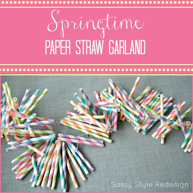 Springtime Paper Straw Garland by sassystyleredesign.com