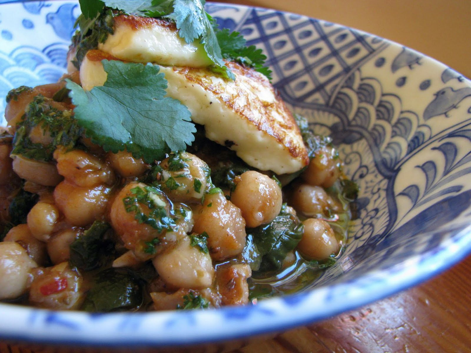 braised chickpeas with spinach, mint, haloumi & mojo verde recipe ...