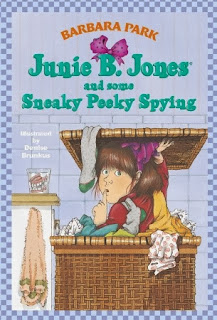 junie b jones and some sneaky peeky spying book report : where did junie b spy on her grampa, where did junie b look in the store for her teacher first, and what did her theacher do wrong.
