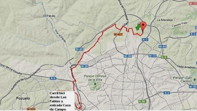 En bici desde Las Tablas - Mapa de ruta hacia la casa de campo por carril bici