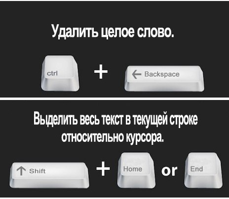 Ctrl+Backspace Shift+Home или End