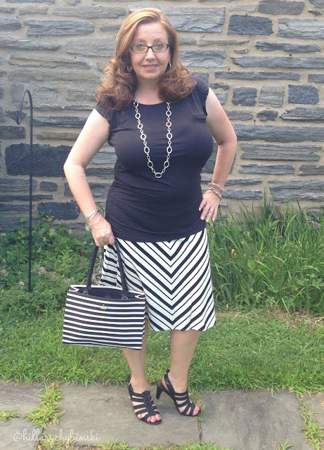 Striped Ann Taylor Skirt, with a Black Aventura Top and Sandals