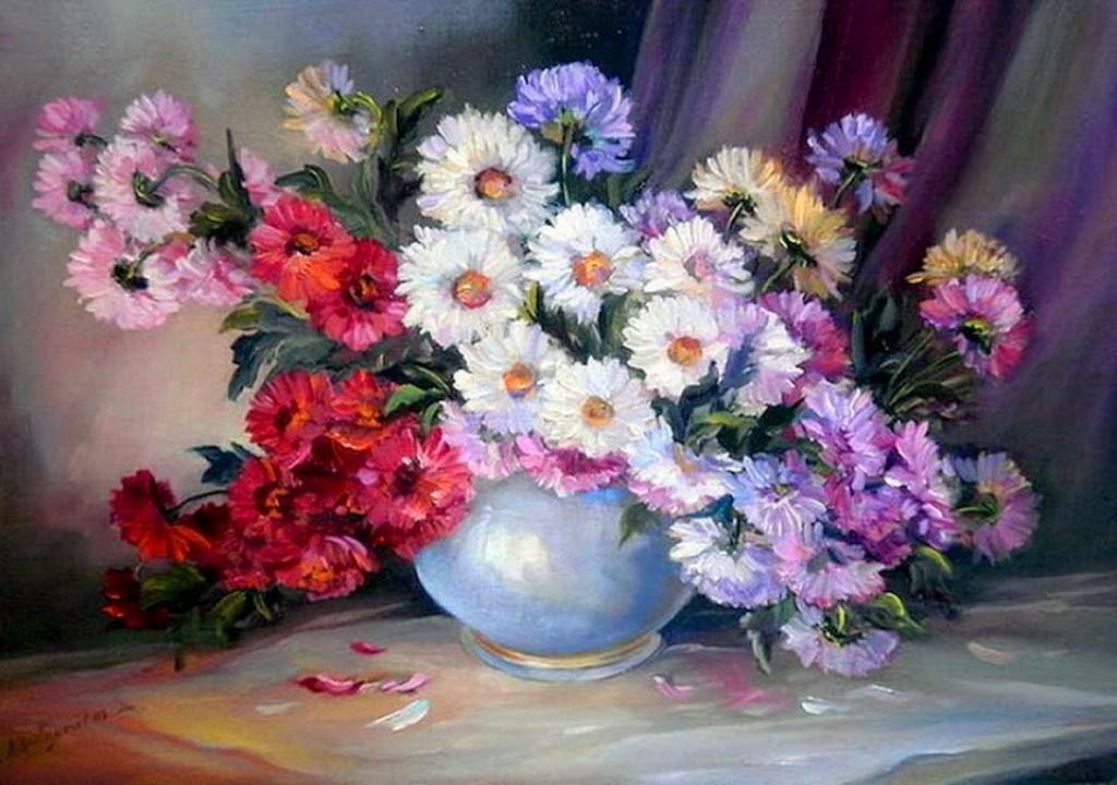 Im genes arte pinturas bodeg n con jarrones de flores - Ramos de flores modernos ...