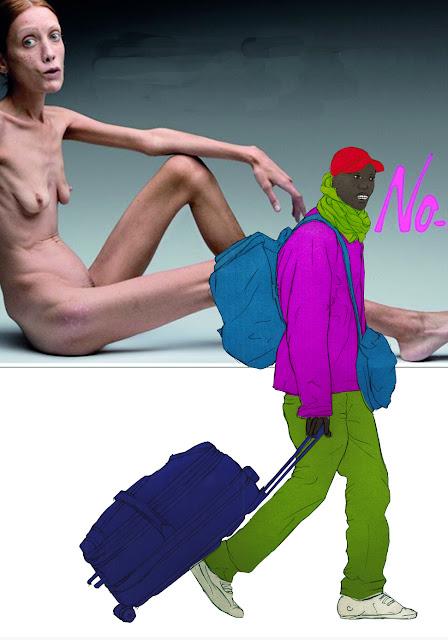 Hambre, choques  culturales, estereotipos, dibujo, serie Africa